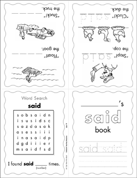 "The Sight Word ""said"" (Level 3) - Printable Worksheet"