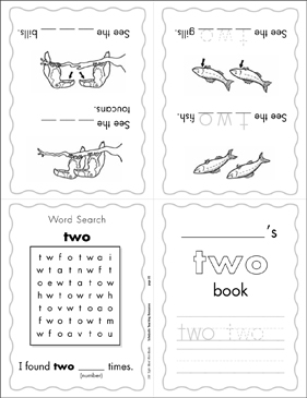 "The Sight Word ""two"" (Level 3) Mini-Book - Printable Worksheet"