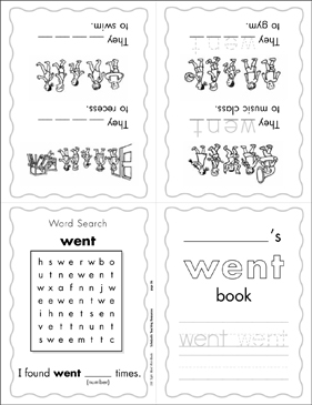 "The Sight Word ""went"" (Level 3) - Printable Worksheet"