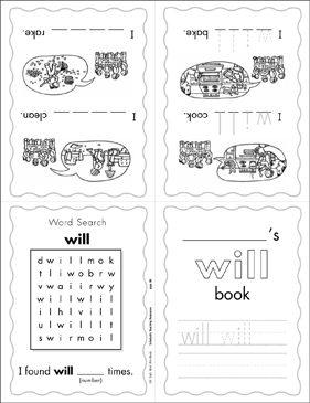 "The Sight Word ""will"" (Level 3) - Printable Worksheet"
