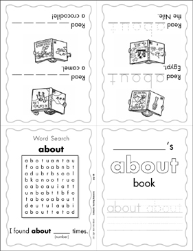 "The Sight Word ""about"" (Level 4) - Printable Worksheet"