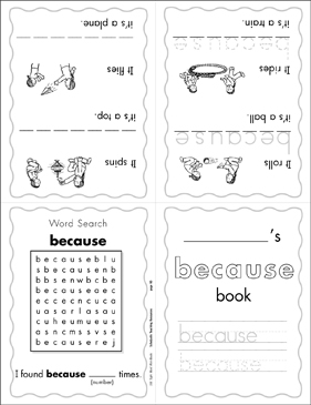 "The Sight Word ""because"" (Level 4) Mini-Book - Printable Worksheet"