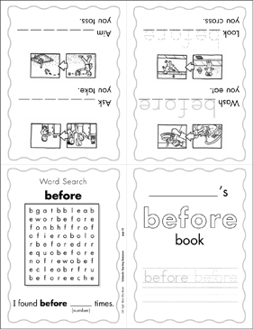 "The Sight Word ""before"" (Level 4) - Printable Worksheet"
