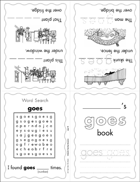 "The Sight Word ""goes"" (Level 4) - Printable Worksheet"