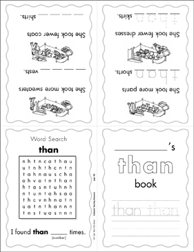 "The Sight Word ""than"" (Level 4) Mini-Book - Printable Worksheet"