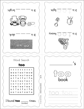 "The Sight Word ""too"" (Level 4) - Printable Worksheet"