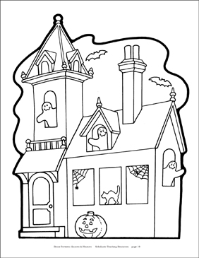 Haunted House Coloring Page - Printable Worksheet