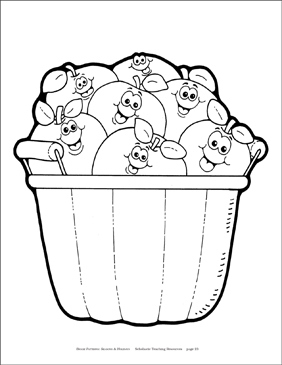 Apples in a Basket Reproducible Pattern - Image Clip Art