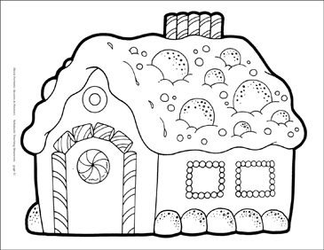 Gingerbread House Reproducible Pattern - Image Clip Art