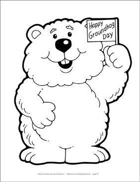 "Groundhog with ""Happy Groundhog Day"" Sign (B&W) - Image Clip Art"
