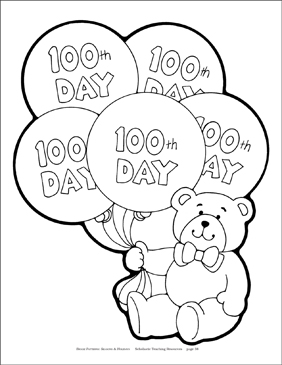 100th Day of School Bear Reproducible Pattern - Image Clip Art