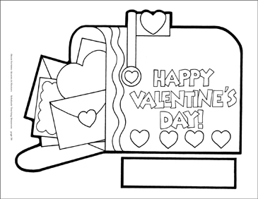 Valentine Mailbox Reproducible Pattern - Image Clip Art