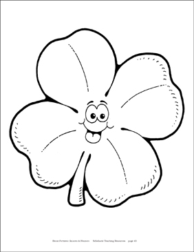 Smiling Four-Leaf Clover Reproducible Pattern - Image Clip Art