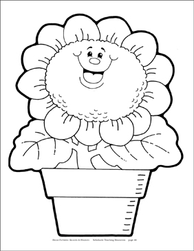 Sunflower in Pot (B&W) Reproducible Pattern - Image Clip Art
