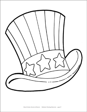 Fourth of July Hat Reproducible Pattern - Image Clip Art