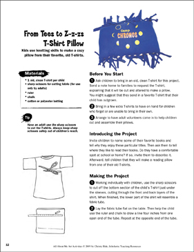 From Tees to Z-z-zs T-Shirt Pillows: All About Me Art Activity - Printable Worksheet