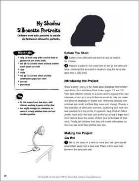 My Shadow Silhouette Portraits: All About Me Art Activity - Printable Worksheet