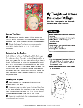 My Thoughts and Dreams Personalized Collages: All About Me Art Activity - Printable Worksheet