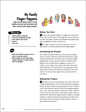 My Family Finger Puppets: All About Me Art Activity - Printable Worksheet