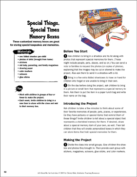 Special Things, Special Times Memory Boxes: All About Me Art Activity - Printable Worksheet