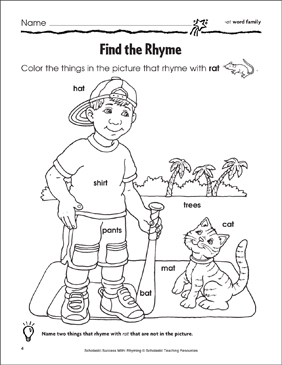 Find the Rhyme: -at, -ad, -an, -ack Word Families - Printable Worksheet