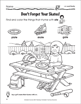 Don't Forget Your Skates: -ate, -ake, -ail Word Families - Printable Worksheet
