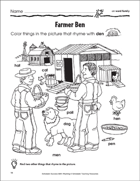 Farmer Ben: -en, -ed, -et, -ell Word Families - Printable Worksheet
