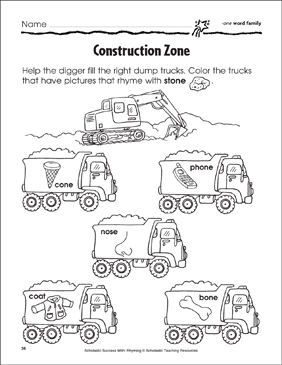 Construction Zone: -one, -oat, -ose Word Families - Printable Worksheet