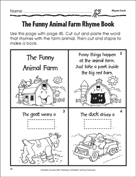 The Funny Animal Farm Rhyme Book - Printable Worksheet