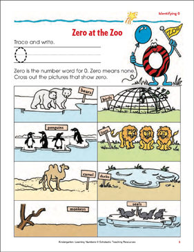 Zero at the Zoo (Tracing, Writing, and Counting 0) - Printable Worksheet