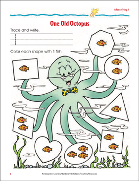 One Old Octopus (Writing and Counting 1) (Color) - Printable Worksheet