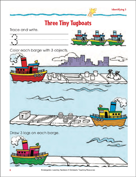 Three Tiny Tugboats (Tracing, Writing, and Counting 3) - Printable Worksheet