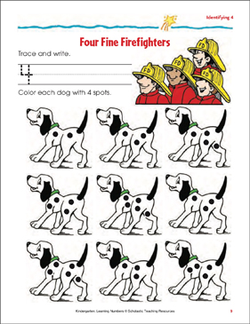Four Fine Firefighters (Tracing, Writing, and Counting 4) - Printable Worksheet