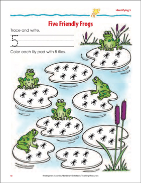 Five Friendly Frogs (Tracing, Writing, and Counting 5) - Printable Worksheet