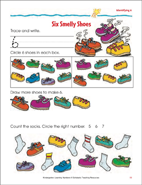 Six Smelly Shoes (Writing and Counting 6) (Color) - Printable Worksheet