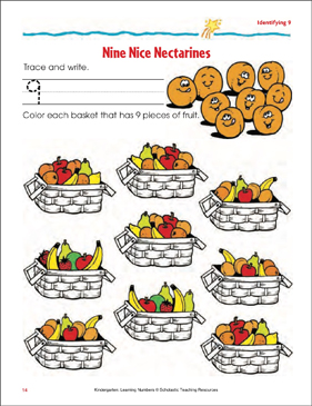 Nine Nice Nectarines (Tracing, Writing, and Counting 9) - Printable Worksheet