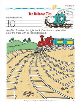 Ten Railroad Ties (Writing and Counting 10) (Color) - Printable Worksheet