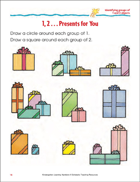 1,2 ... Presents for You (Identifying Groups of 1 and 2 Objects) - Printable Worksheet