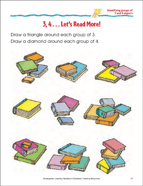3, 4 - Let's Read More (Identifying Groups of 3 and 4 Objects) - Printable Worksheet