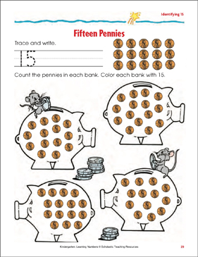 Fifteen Pennies (Identifying 15) - Printable Worksheet