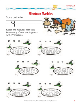 Nineteen Marbles (Identifying 19) - Printable Worksheet