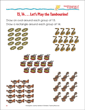 13, 14 - Let's Play the Tambourine! (Identifying Groups of 13 and 14 Objects) - Printable Worksheet