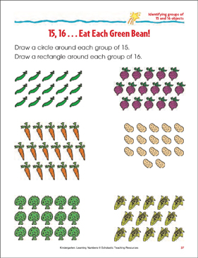 15, 16 - Eat Each Green Bean! (Identifying Groups of 15 and 16 Objects) - Printable Worksheet