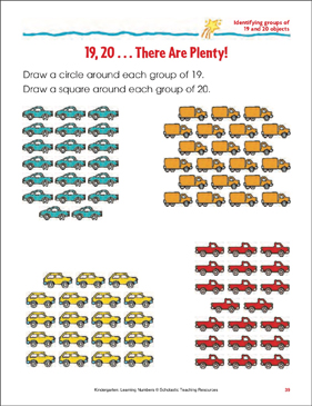 19, 20 - There Are Plenty! (Identifying Groups of 19 and 20 Objects) - Printable Worksheet