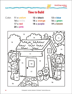 Time to Build (Identifying numbers 11-20) - Printable Worksheet