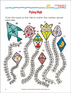 Flying High (Counting Groups of 11-20 Objects) - Printable Worksheet