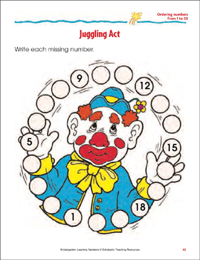 Juggling Act (Ordering Numbers From 1 to 20) - Printable Worksheet