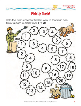 Pick Up Trash! (Ordering Numbers From 1 to 20) - Printable Worksheet