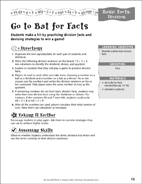 Go to Bat for Facts (Division) - Printable Worksheet