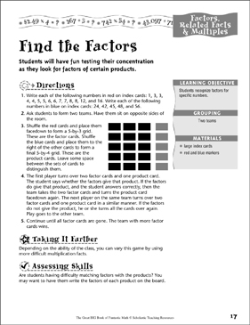 Find the Factors (Multiplication) - Printable Worksheet